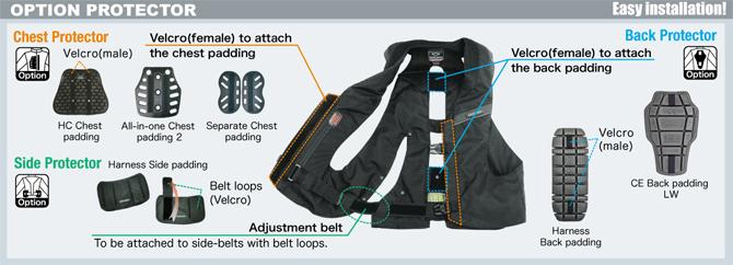 optiuni vesta moto cu airbag mlv-c