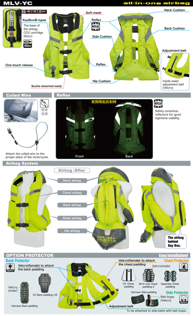 descriere vesta moto airbag